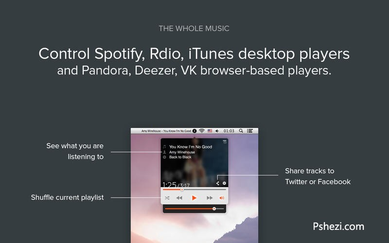 Simplify for Spotify Rdio iTunes for mac 3.3.0 破解版下载 音乐控制器