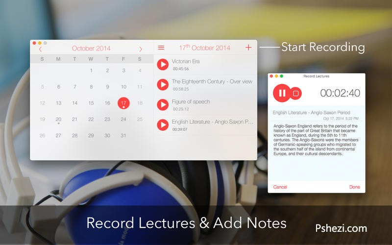 Record Lectures for Mac 3.0 破解版下载 日历浏览式录音软件