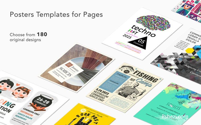 Posters Templates for Pages for Mac 1.1 破解版下载 Pages主题模版